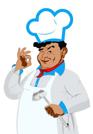 one sided: Funny happy Chef on a white background Vector