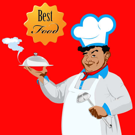 Funny Chef on a red background Food for gourmet