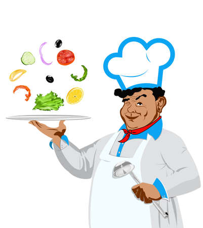 Funny happy Chef and vegetarian vegetable salad on a white background  Vector