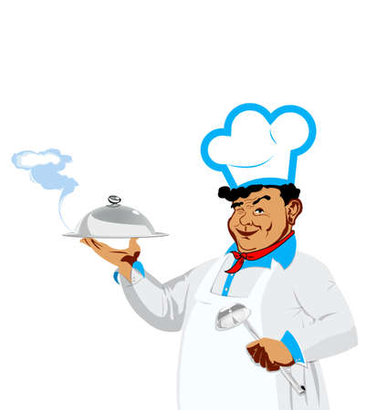 Funny Chef and menu  Food for gourmet  Stock Photo