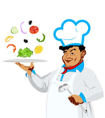 Funny happy Chef and vegetarian vegetable salad on a white background Stock Photo - 17659134