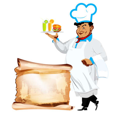 Funny happy Chef and menu bistro photo