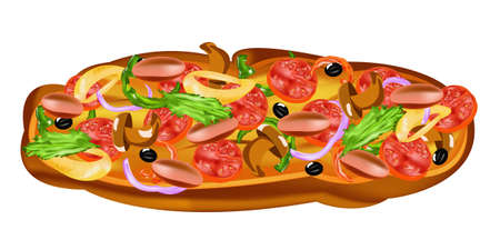 Traditional delicious Italian vegetable pizza with fungi and grilled sausages