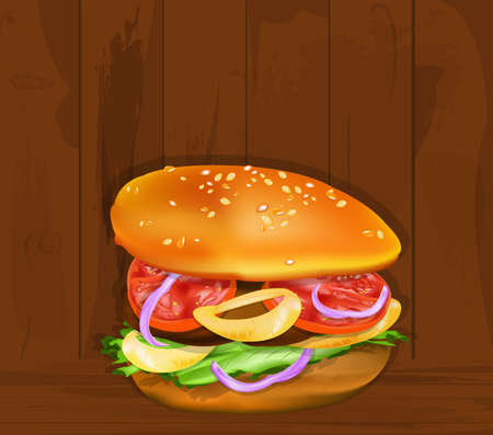 Fresh hamburger on a old wooden taxture Fast food Stock Vector - 17640332