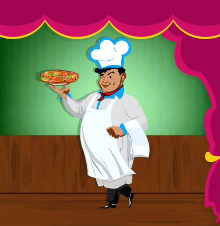 Funny Chef and italian pizza Best food for gourmet Vector