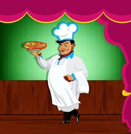 Funny Chef and italian pizza Best food for gourmet photo