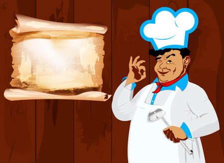 Funny Chef and menu Best food for gourmet photo