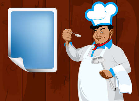 Chef and paper menu restaurant on a old board wooden background photo