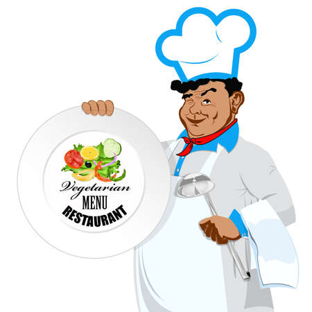 Chef with menu for vegetarian  Menu cafe Stock Vector - 17659402