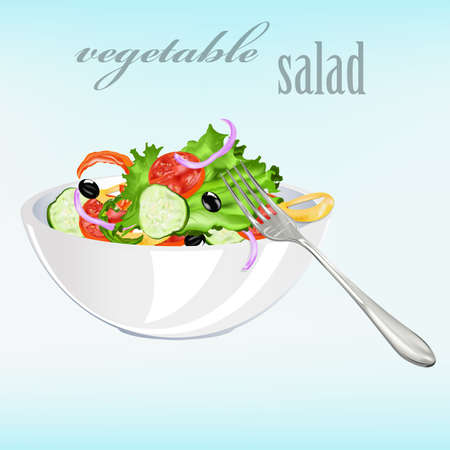 salad: Fresh vegetarian vegetable salad Vector Illustration