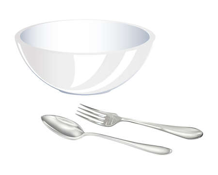 Fork,spoon and big plate on a white background Vector Stock Vector - 17698654