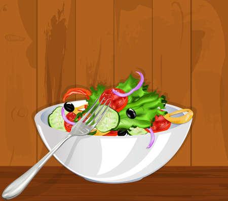 buffet table: Fresh vegetarian vegetable salad