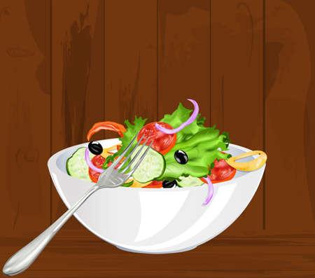 Fresh vegetarian vegetable salad on a old wooden background Stock Vector - 17698655