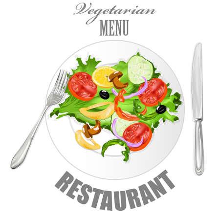 Vegetarian food Fresh vegetable salad Vector