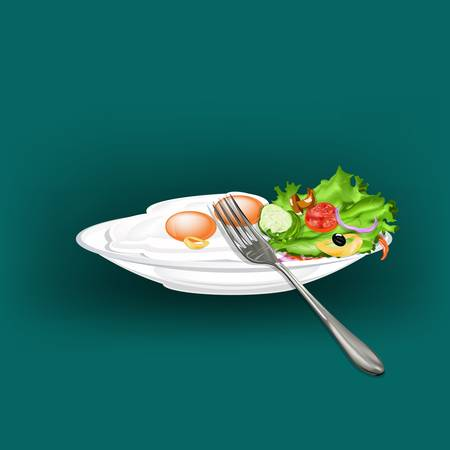 food buffet: Scrambled eggs and fresh vegetable salad Gourmet food Vector