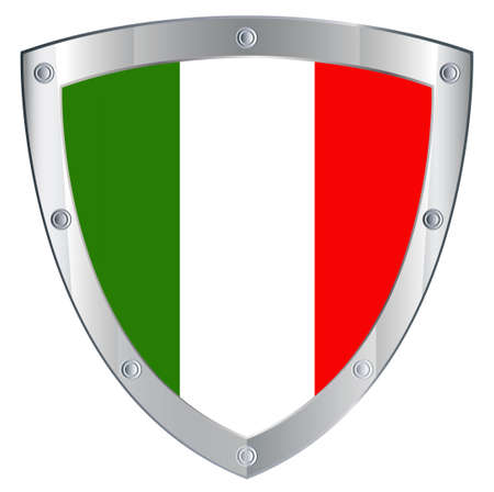 Emblema italiana sobre un fondo blanco de seguridad photo