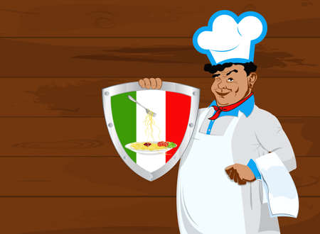 lunch room: Chef and Italian emblem traditional food Design menu restaurant Stock Photo