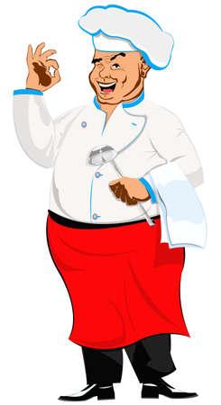 Happy joyful Chef on a white Restaurant business  Vector Stock Vector - 17773012