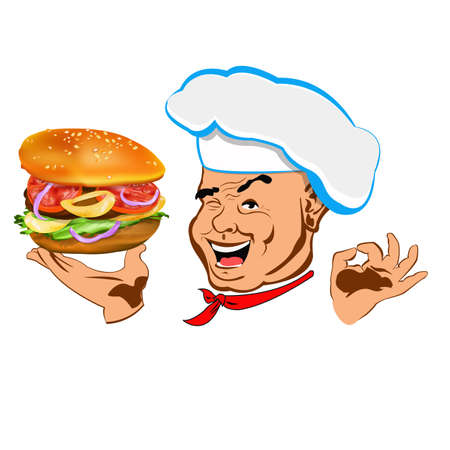 Chef and big hamburger Face Chef Restaurant business   Vector