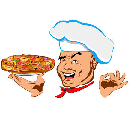 pizza man: Chef and big pizza Face Restaurant business