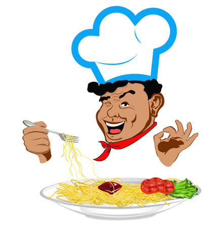 eating utensil: Happy joyful Chef and traditional Italian spaghetti