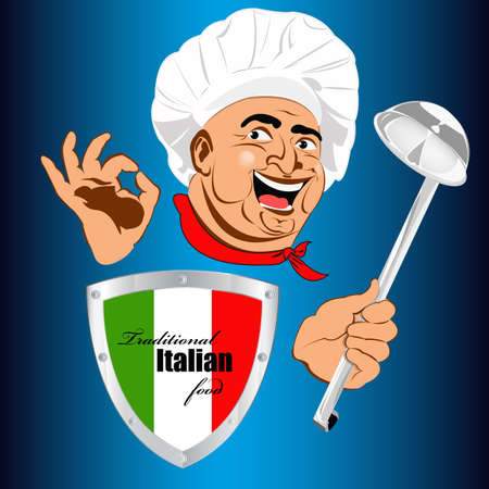 Best food for gourmet from Italian Chef  Vector