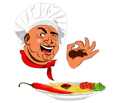 Funny Chef and traditional Italian spaghetti with burning red pepper chilli photo