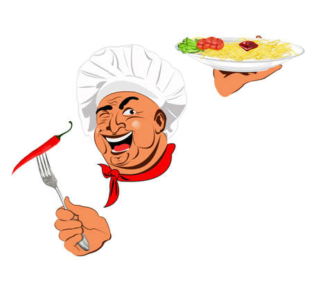 Funny Chef and traditional Italian spaghetti with burning red pepper chilli Stock Photo - 17947805