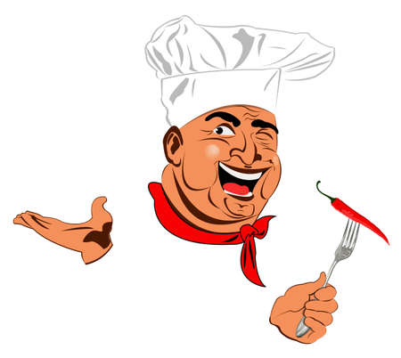 Funny Chef and Spicy burning red pepper chilli Stock Photo - 17947802