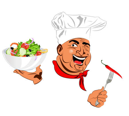 Funny Chef and best vegetarian vegetable fresh salad Stock Photo - 17947819