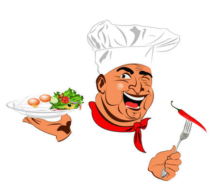 Funny Chef and best vegetarian vegetable fresh salad with scrambled eggs Stock Photo - 17947804