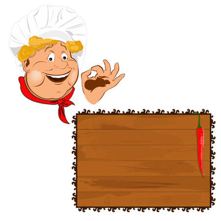 Funny Chef Best food for gourmet  Vector