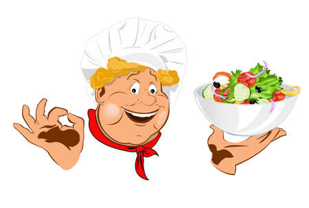 Funny Chef and best vegetarian vegetable fresh salad Vector