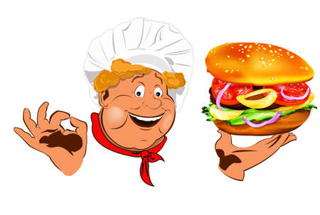 Funny Chef and best big traditional hamburger Stock Photo - 17947941