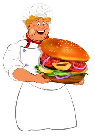 Funny Chef and best big traditional hamburger Stock Photo - 17955536