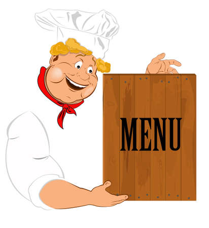 Funny Chef and menu best food for Gourmet Vector Stock Vector - 17955533