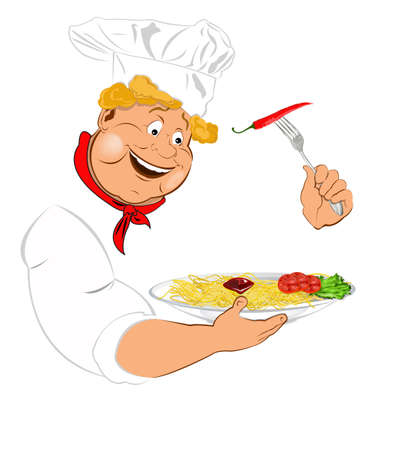 Funny Chef and best big traditional Italian spaghetti photo