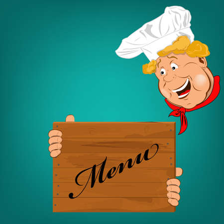 Funny Chef and menu Vector Stock Vector - 17976995