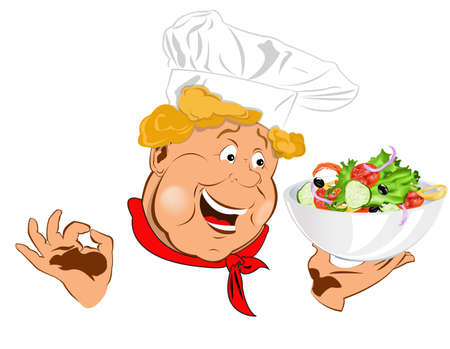 Funny Chef and big plate with fresh vegetable salad Vector Stock Vector - 18001683