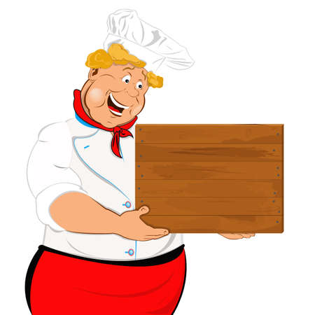 Funny Chef and wooden menu Stock Photo - 18001681