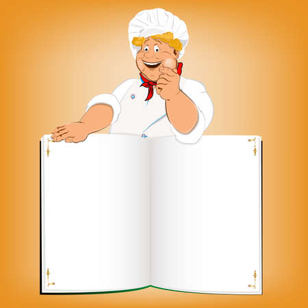 recipe book: Funny Chef and book menu for Gourmet Vector Illustration