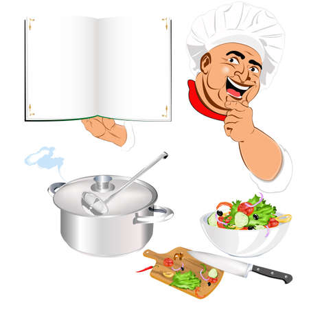 Funny Chef and fresh vegetable food for Gourmet Vector