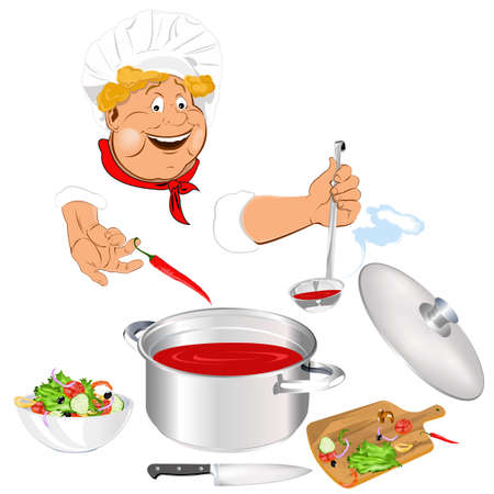 Funny Chef and fresh vegetable food for Gourmet photo