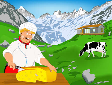 swiss alps: Chef and Natural swiss dairy cheese from cow with alps meadow