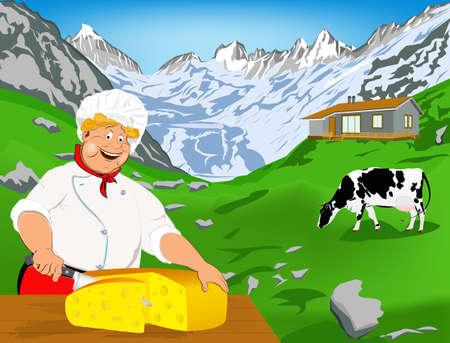 alpes suizos: Chef y queso suizo Natural l�cteos de vaca con pradera Alpes Vectores