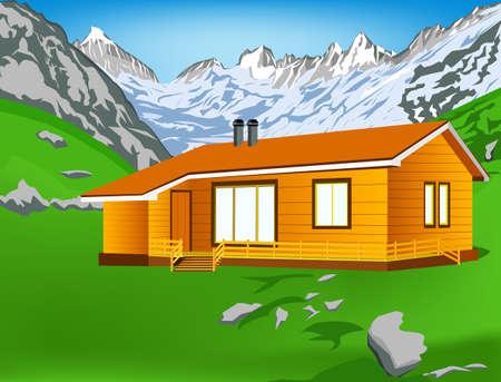alpes suizos: Mejor alpes monta�as resort con aire limpio Vector paisaje Monta�as Vectores