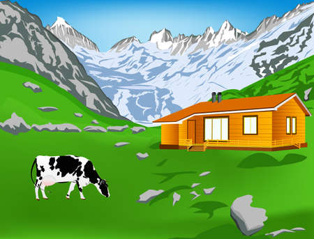 alpes suizos: Vaca lechera en un alpes monta�as Vector prado verde paisaje Alpes