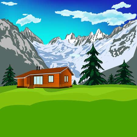 saubere luft: Beste Alpen Berge Resort mit sauberer Luft Gebirgslandschaft Vector