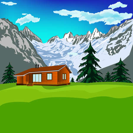 Best alps mountains resort with clean air Mountains landscape Stock Photo