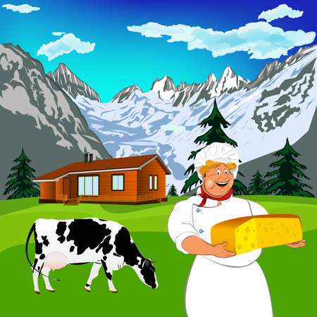 swiss alps: Funny Chef and Natural swiss dairy cheese with alps mountains meadow
